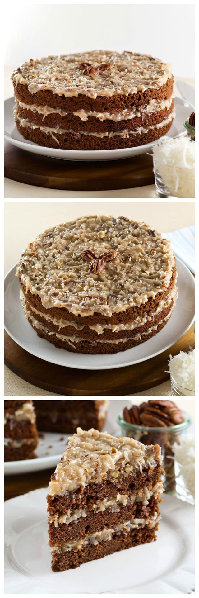 American Cakes: German Chocolate Cake - A traditional recipe and history for German Chocolate Cake from food historian Gil Marks. Chocolate cake layered with coconut-pecan frosting.