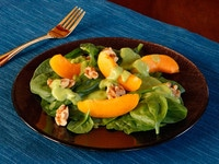 Apricot Spinach Salad with Toasted Walnuts and Avocado Basil Dressing - Fresh Vegan Summer Salad Recipe on ToriAvey.com