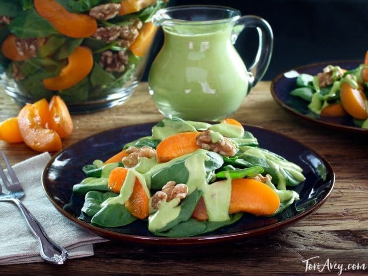 Apricot Spinach Salad with Toasted Walnuts and Avocado Basil Dressing - Fresh Vegan Summer Salad Recipe by Tori Avey