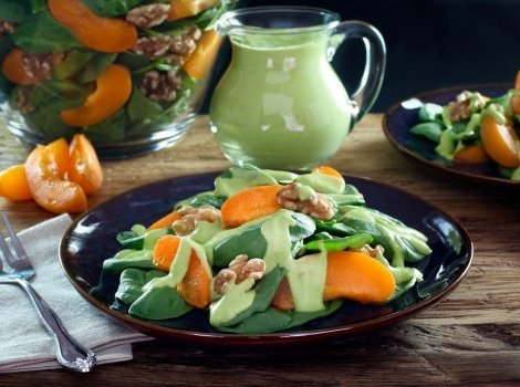 Apricot Spinach Salad with Avocado Basil Dressing