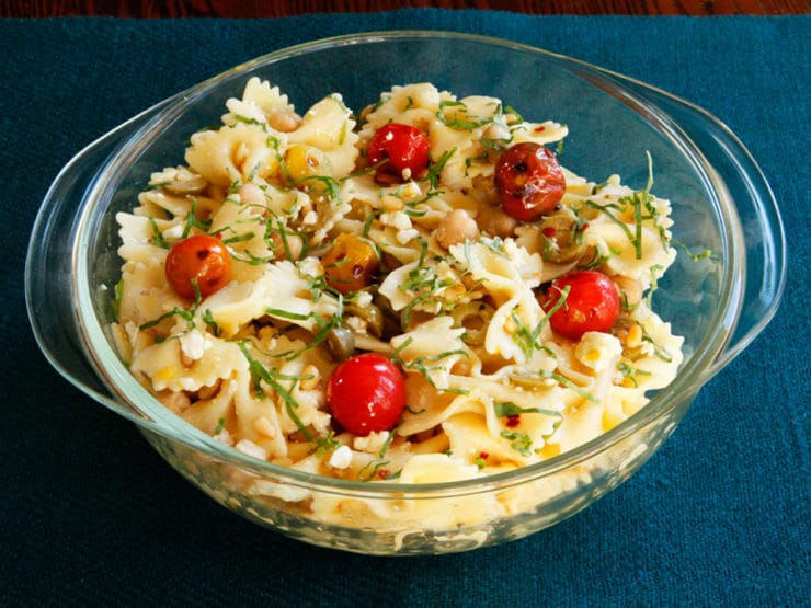 Lemon Pasta Salad with Roasted Tomatoes, Chickpeas & Feta