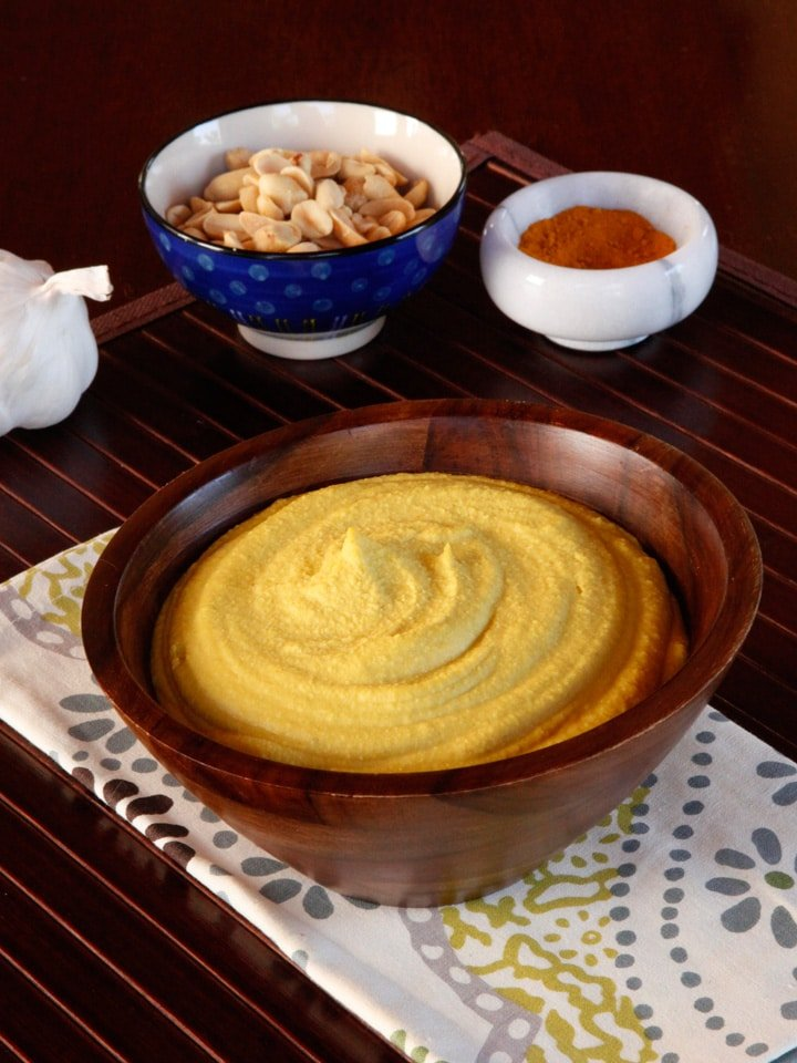 Peanut Hummus - A unique and delicious spin on traditional chickpea hummus with garlic, spices, lemon and turmeric