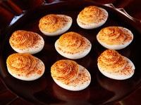 Hummus Sriracha Deviled Eggs - Spiced Up, Lightened Up, Smoky Deviled Eggs Recipe