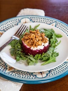 Roasted Beet Tartare Recipe with Feta or Goat Cheese, Arugula, Balsamic Vinegar and Spicy Candied Nuts.