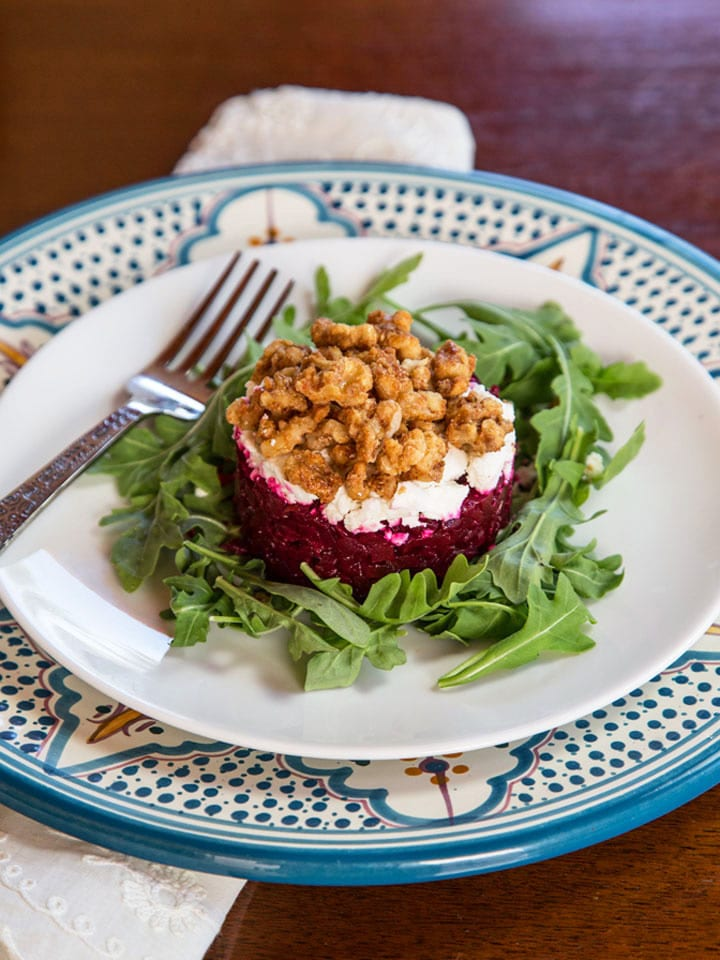 Roasted Beet Tartare, Delicious Appetizer Salad Recipe - Learn to make Roasted Beet Tartare, a tasty beet salad with balsamic, olive oil, arugula, goat cheese or feta and maple candied walnuts.