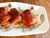 Date Glazed Orange Chicken - Sweet, Flavorful Recipe for Orange-Marinated Roasted Chicken Glazed with Date Honey #RoshHashanah