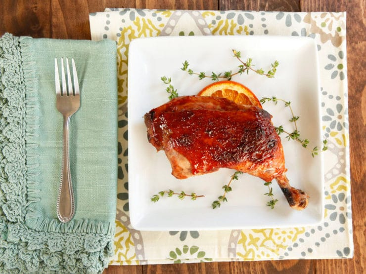 Date Glazed Orange Chicken - Sweet, flavorful recipe for orange and thyme-marinated roasted chicken glazed with date honey. Lovely holiday recipe.