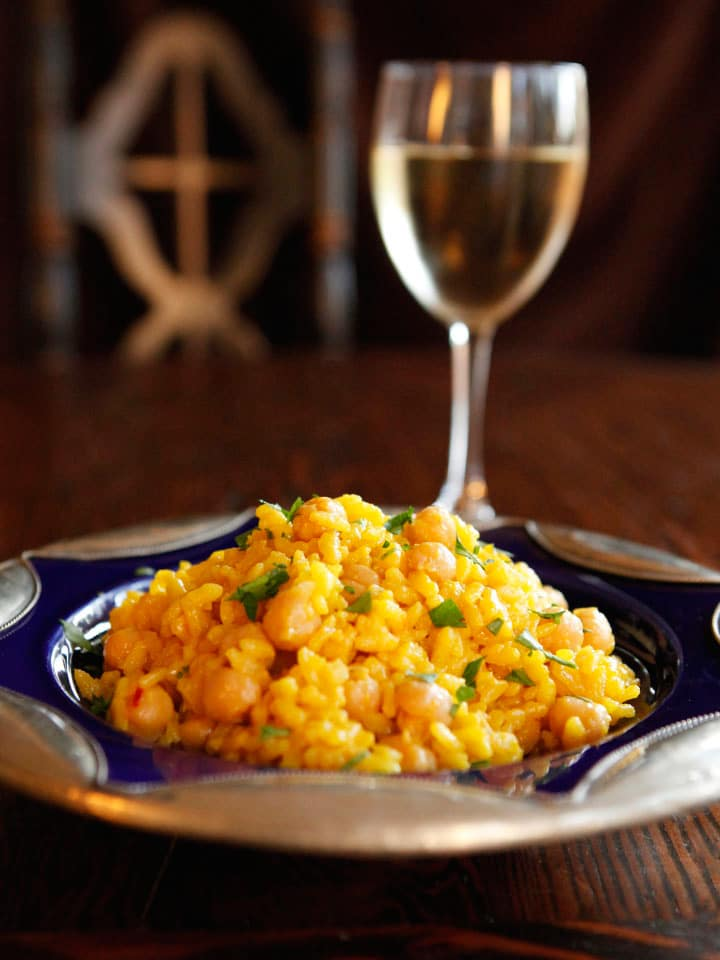 Saffron Chickpea Risotto - Golden creamy saffron-infused vegetarian risotto with chickpeas for complete protein. Hearty, filling entree. Irresistible!