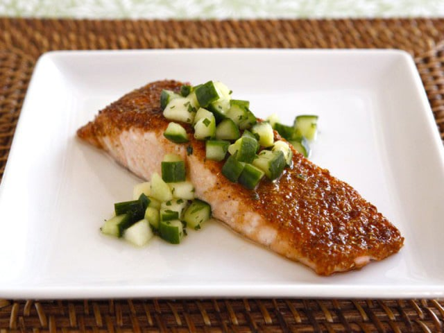 Spice Broiled Salmon with Green Apple Salad - Recipe for broiled salmon with a sweet, golden spice crust topped with a crisp salad made with apples, cucumber and honey. Rosh Hashanah recipe.