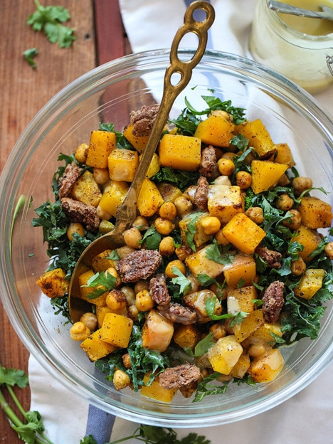 FoodieCrush - Kale Butternut Squash Salad with Chickpeas and Tahini Dressing