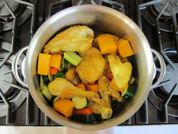 Diced vegetables added to stockpot.