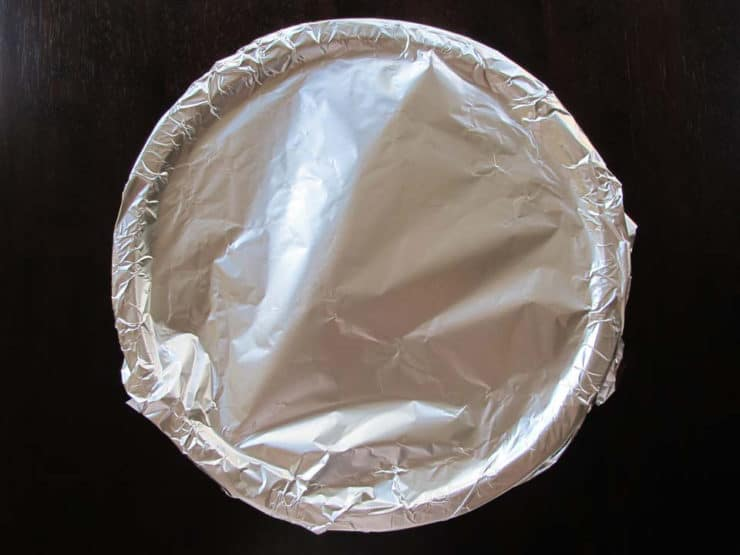Foil covered bowl.