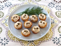 Baby Lox Potato Appetizer - Roasted Mini Potatoes with Lox Cream Cheese Spread Lightened Up with Greek Yogurt