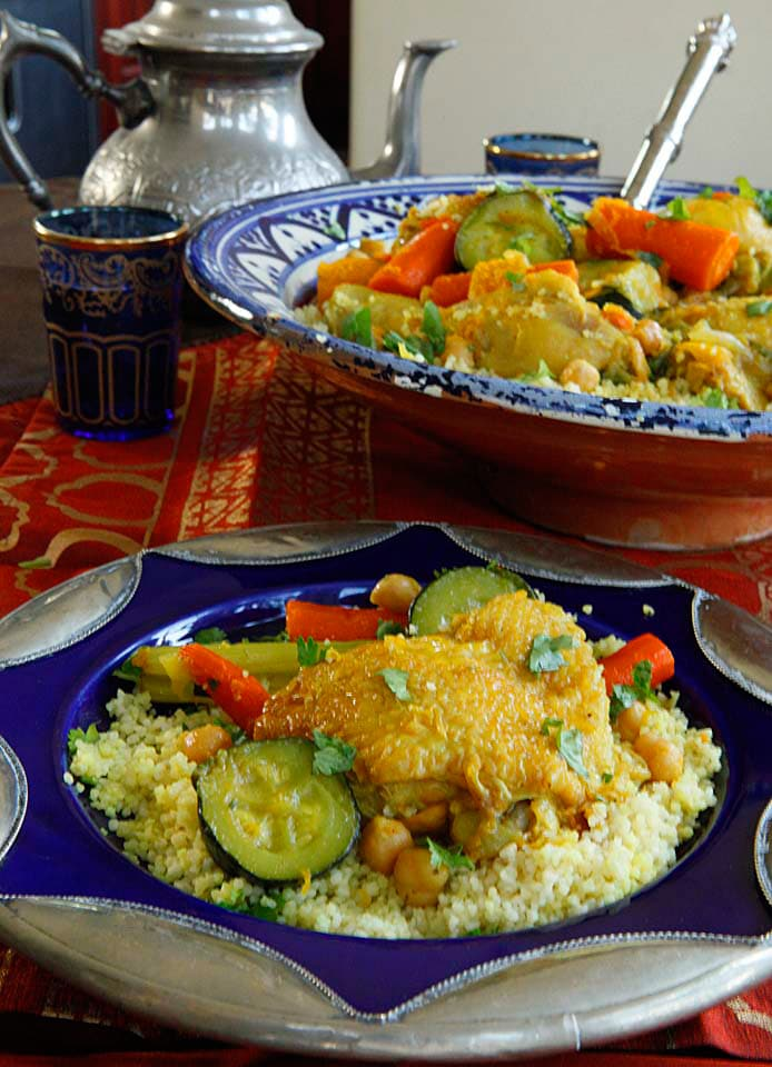Chicken Vegetable Couscous - Healthy, easy and affordable savory Moroccan-inspired recipe for couscous with chicken, zucchini, carrots, celery, butternut squash and spices.