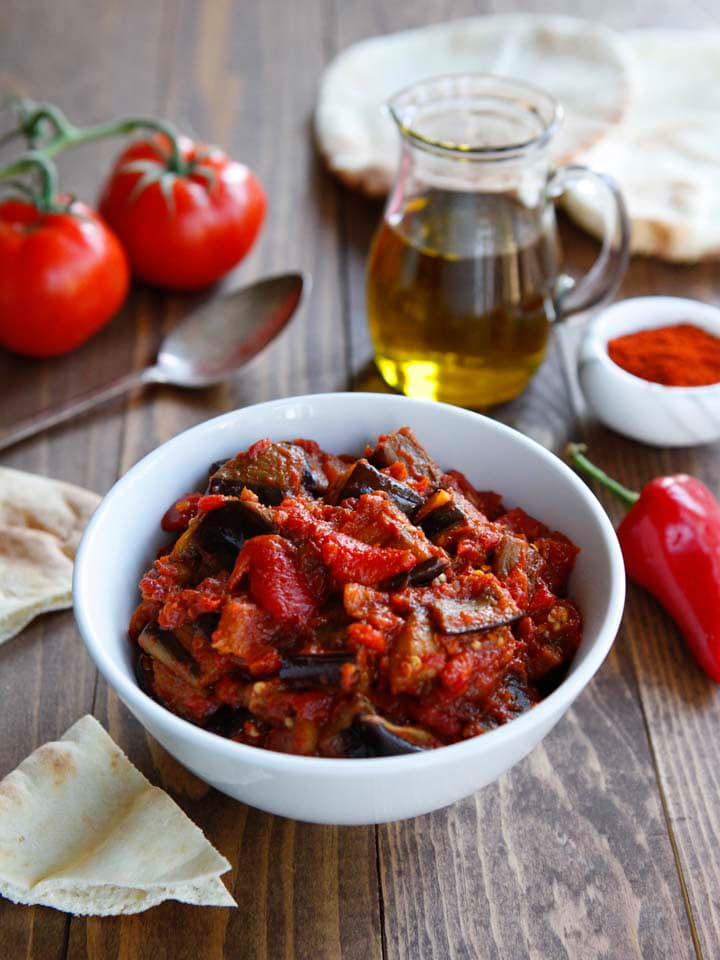 Roasted Eggplant Matbucha - Sweet and spicy Moroccan-inspired mezze salad recipe. Healthy, flavorful vegan side dish.