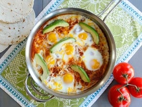 Huevos Shakshukos - Shakshuka Recipe with a Mexican Twist on ToriAvey.com