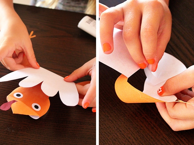 Thanksgiving Turkey Puppet Craft for Kids - Easy kid-friendly craft for Thanksgiving – Turkey Puppets. Includes step-by-step illustrated tutorial and free printable cutouts from Brenda Ponnay.