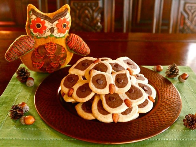 Cookies in the shape of owl faces on a bronze serving plate atop a green placemat on a wooden table. Behind the plate of cookies is an owl stuffed animal.