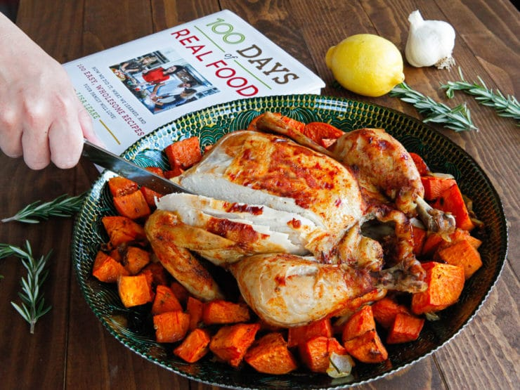 Lisa Leake's Slow Cooker Chicken - Cook a whole chicken in the crock pot. Simple and delicious recipe from the 100 Days of Real Food Cookbook.