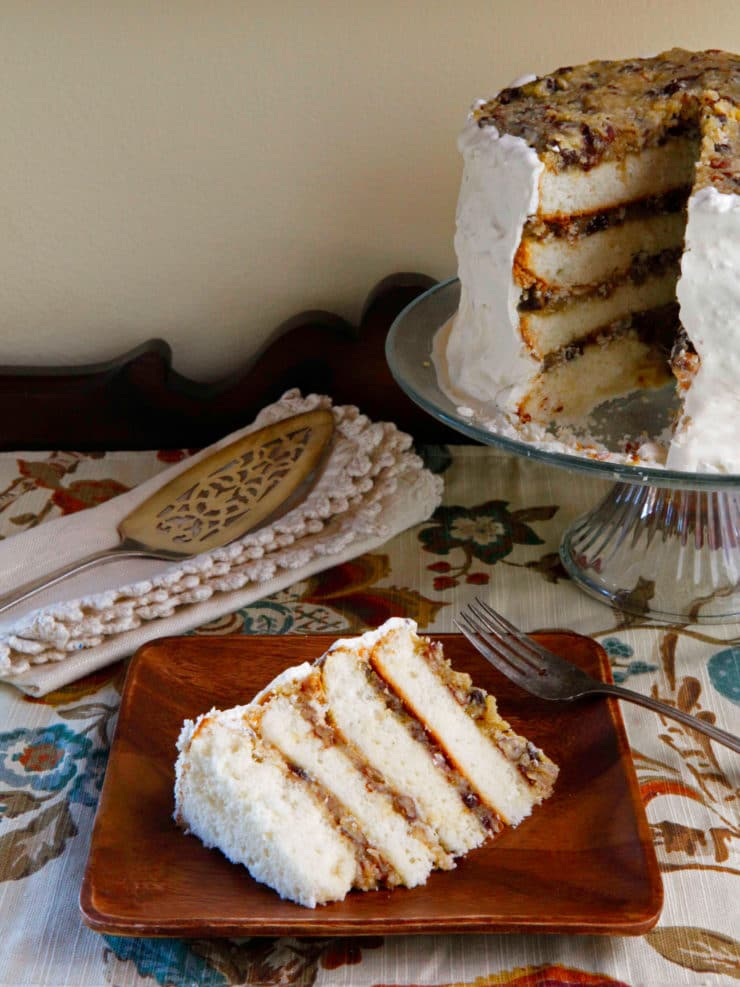 American Cakes: Lane Cake - History of Lane Cake and a Traditional Recipe for this Classic Southern Boozy Layer Cake From Food Historian Gil Marks. | ToriAvey.com #lanecake #layercake #cake #gilmarks #foodhistory #southernrecipe #dessert #TorisKitchen