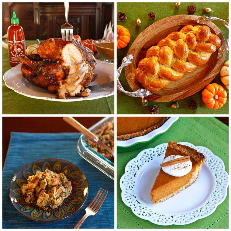 Collage of four recipe photos. In the top left there is a photo of Deep Fried Sriracha Turkey being sliced with a fork and knife on top of white serving platter. In the top left there is a photo of golden baked Pumpkin Challah on top of a wooden platter. In the bottom left there is a photo of a scoop of Challah Stuffing on top of a blue decorative plate next to a fork on top of a blue placemat. In the bottom right there is a photo of a slice of Coconut Macaroon Pumpkin Pie topped with whipped cream, a sprinkle of cinnamon, and a cinnamon stick on top of a white plate on a blue placemat.