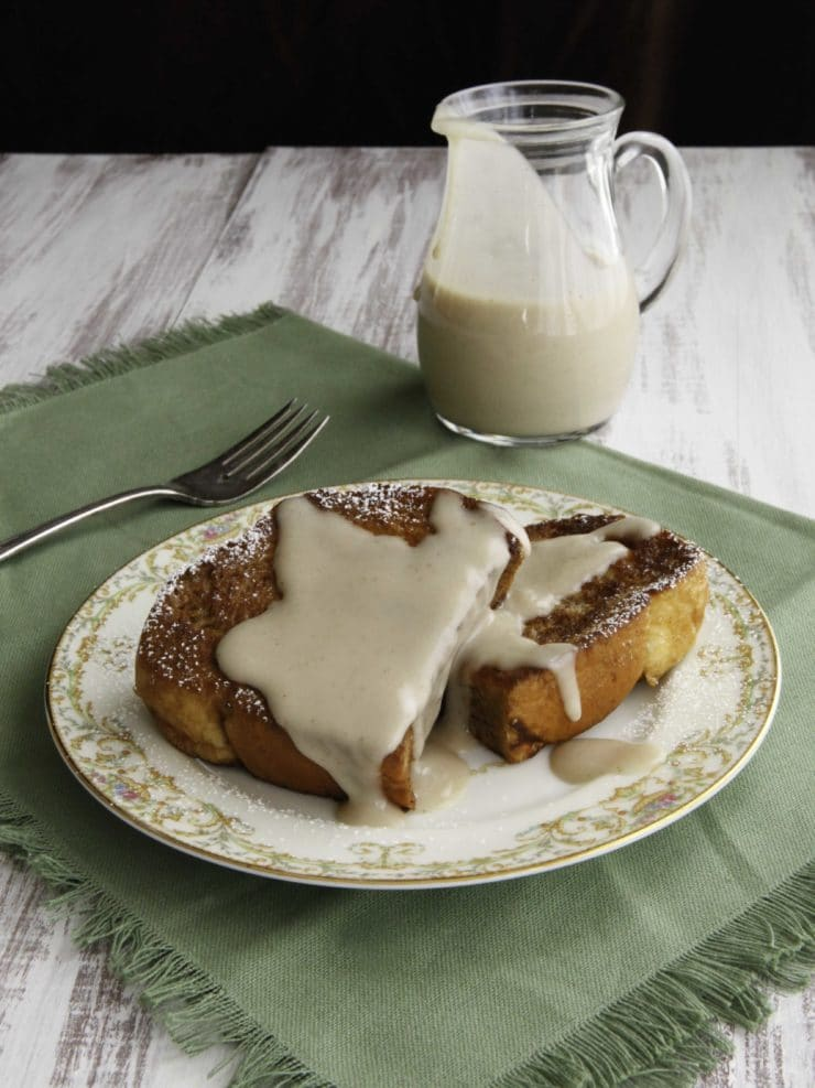 Challah French Toast with Kahlua Coconut Crème - Decadent dairy-free breakfast or brunch recipe - fluffy eggy challah bread naturally sweetened with banana custard, topped with Kahlua coconut crème sauce.