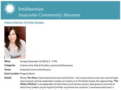 Smithsonian Anacostia Museum – Civil War Cooking with Tori Avey