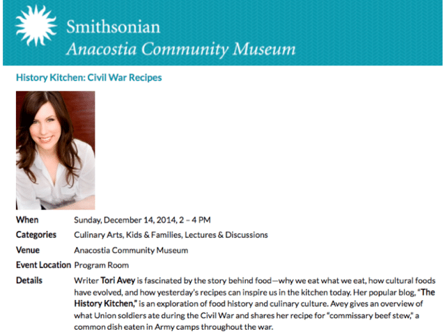 Smithsonian Anacostia Museum - Civil War Cooking with Tori Avey
