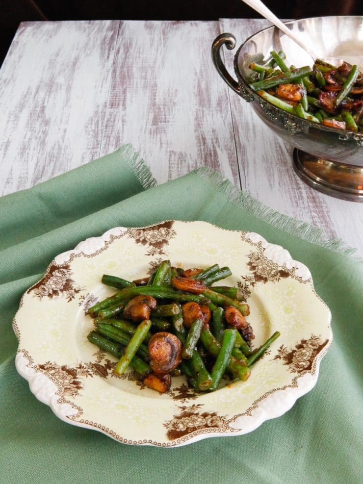 Green Bean Mushroom Sauté with Spiced Plum Sauce - Asian-Inspired Sweet and Spicy Side Dish Recipe