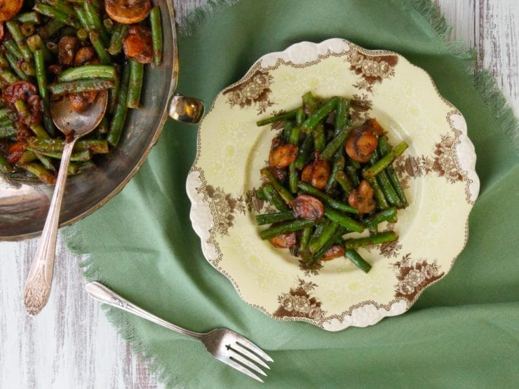 Green Bean Mushroom Sauté with Spiced Plum Sauce