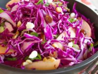 Red Cabbage Apple Salad Pinterest Pin on ToriAvey.com