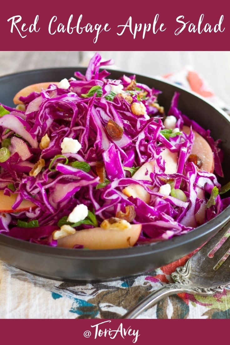 Red Cabbage Apple Salad with Blue Cheese & Walnuts - Unique and delicious cabbage salad recipe with apples, blue cheese, toasted walnuts, dates, green onions, mint and a tantalizing creamy dressing. #salad #wintersalad #cabbage #dates #apples #walnuts #bluecheese