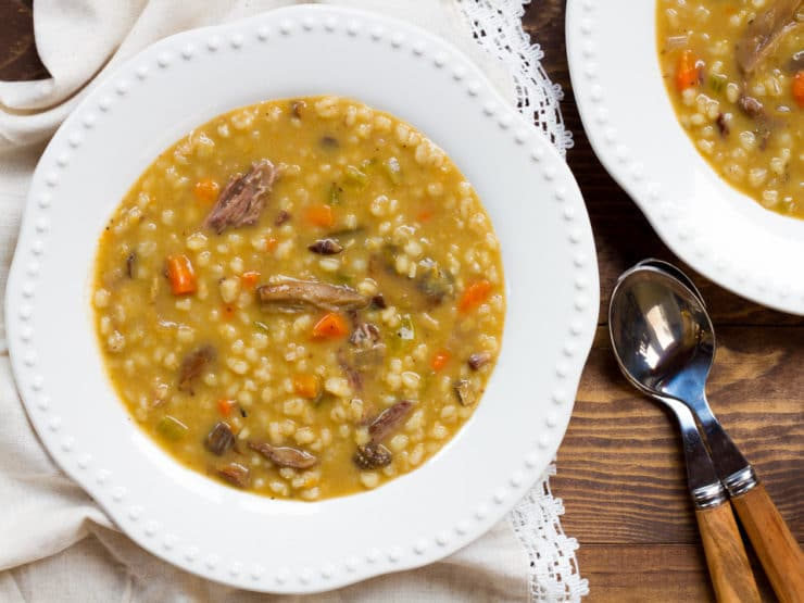 Mushroom Barley Soup with Flanken - Homemade Jewish Deli-Style Beef Soup, Savory and Comforting