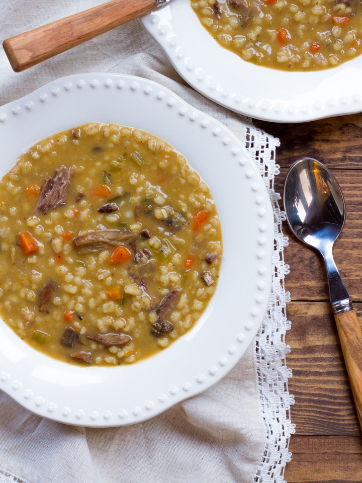 Mushroom Barley Soup with Flanken - Homemade Jewish Deli-Style Beef Soup, Savory, Hearty, and Comforting.