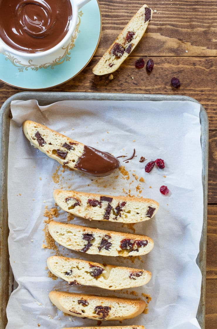 Dark Chocolate Cherry Mandelbrot Recipe - Biscotti-Like Almond-Scented Cookie Recipe with Dried Cherries and Dark Chocolate. Perfect with Tea or Coffee!