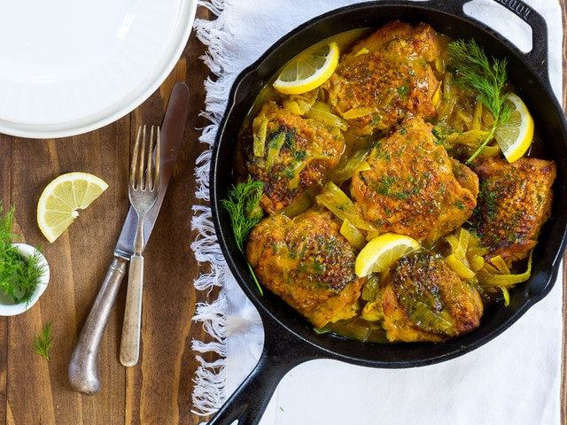 Braised Lemon Chicken with Dill and Turmeric