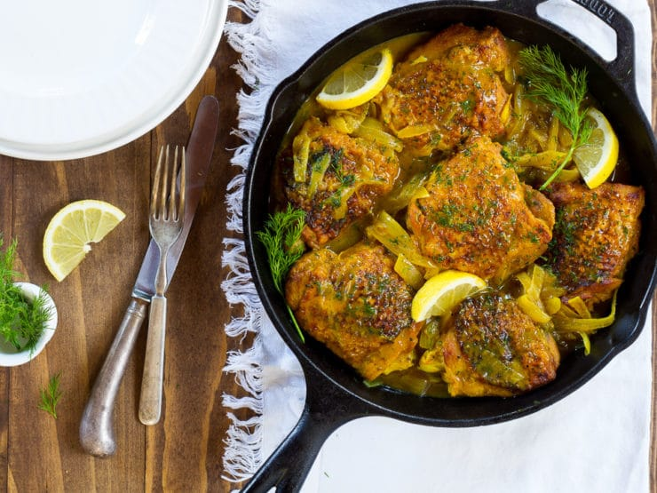 Braised Lemon Chicken with Dill and Turmeric - Easy weeknight dinner entree recipe with fresh lemon juice, fresh dill and healthy anti-inflammatory turmeric spice. 45 minute meal.