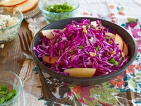 Red Cabbage Apple Salad with Blue Cheese - Unique and Delicious Salad Recipe with Toasted Walnuts, Dates and a Tantalizing Creamy Dressing