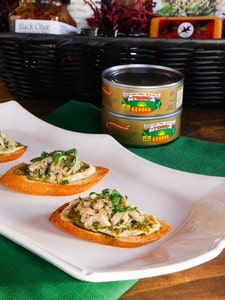 Tuna, Hummus & Pesto Crostini Recipe + an amazing Mediterranean Food Basket Giveaway from Genova Tonno - Enter to win on ToriAvey.com #giveaway #contest #prize