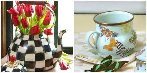 Tori's Friday Favorites - MacKenzie-Childs Courtly Check Enamel Tea Kettle & Butterfly Garden-Sky Enamel Mugs. Comment to win!