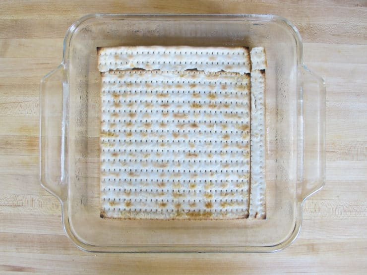 Matzo in baking dish.