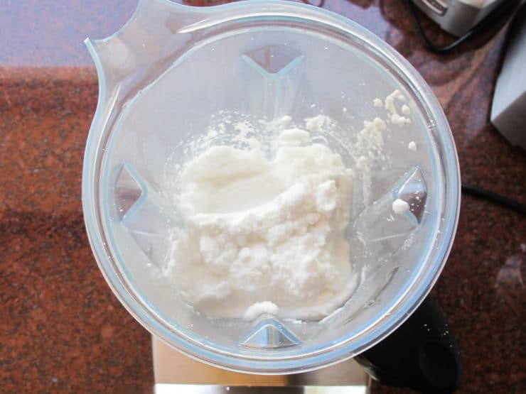 Coconut pulp in blender.
