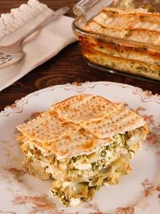 Spinach, Feta and Artichoke Matzo Mina - Greek-Style Sephardic Matzo Casserole Recipe. Flavorful Vegetarian Passover Seder Entree. Kosher for Passover