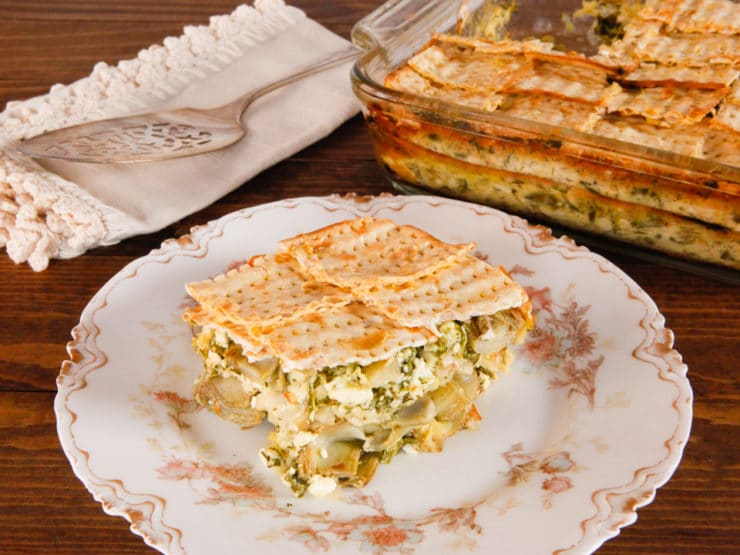Spinach, Feta & Artichoke Matzo Mina - Greek-Style Sephardic Matzo Casserole with Sautéed Artichokes and Savory Spinach and Feta Filling. Flavorful Vegetarian Passover Seder Entree.