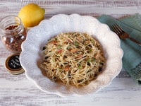 Sardine Pasta with Lemon, Capers and Chili Flakes - Easy, Delicious and Heart Healthy Mediterranean Meal