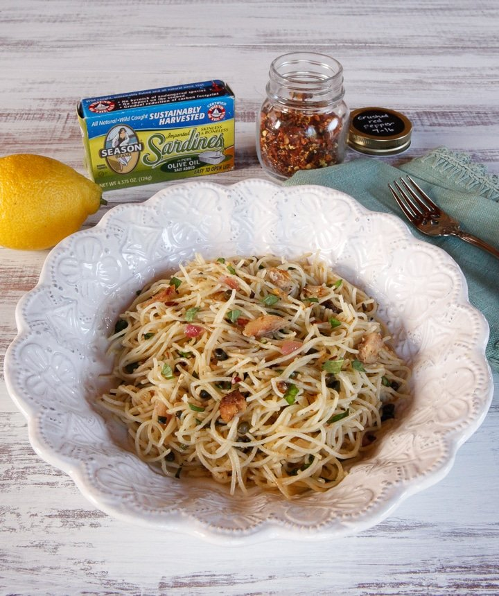 Mediterranean Sardine Pasta with Lemon, Capers and Chili Flakes - Easy, Delicious and Heart Healthy Mediterranean Sardine Recipe with Pasta and Light Lemon Olive Sauce