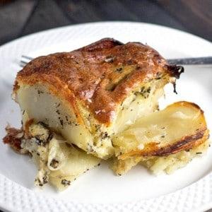 Tori's Passover Potluck - Gluten Free Potato Kugel Gratin from Meg van der Kruik, Beard + Bonnet. Gluten Free, Dairy Free, Kosher for Passover. #PassoverPotluck