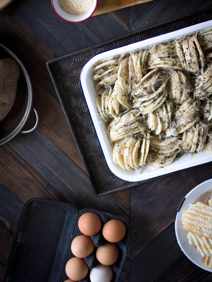 Gluten Free Potato Kugel Gratin - Meg van der Kruik from Beard + Bonnet shares a kosher for Passover vegetarian entree recipe.