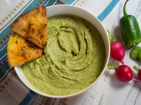 Spicy Jalapeño Hummus - Healthy Green Mezze Recipe. Lighter, Zesty Alternative to Guacamole. Serve with Pita Chips, Bread or Crudités #vegan