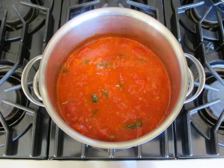 Pomodoro sauce simmering.